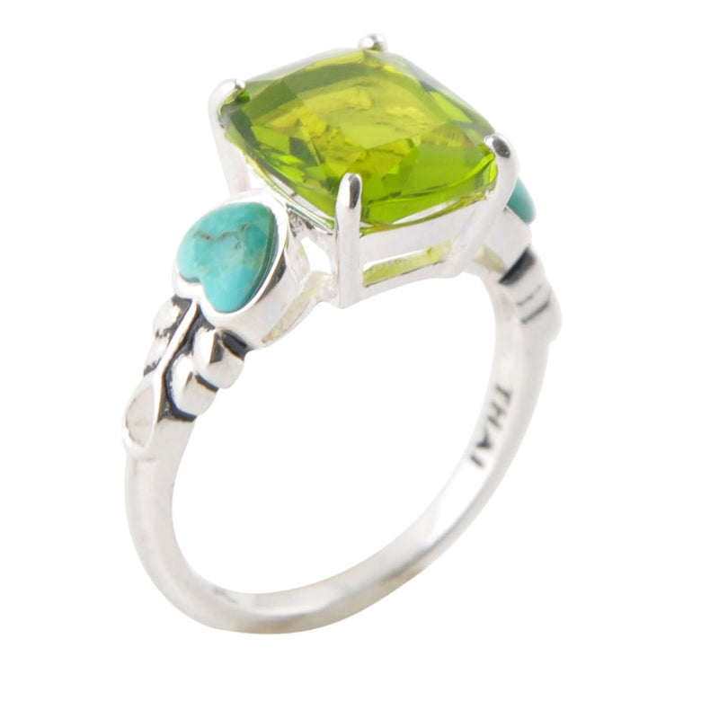 The Caroline Ring-Peridot Crystal and Turquoise