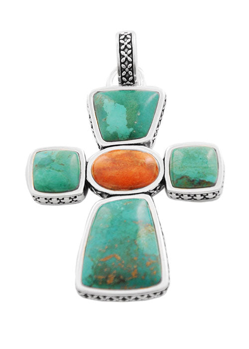 Terracotta Stone Cross Pendant