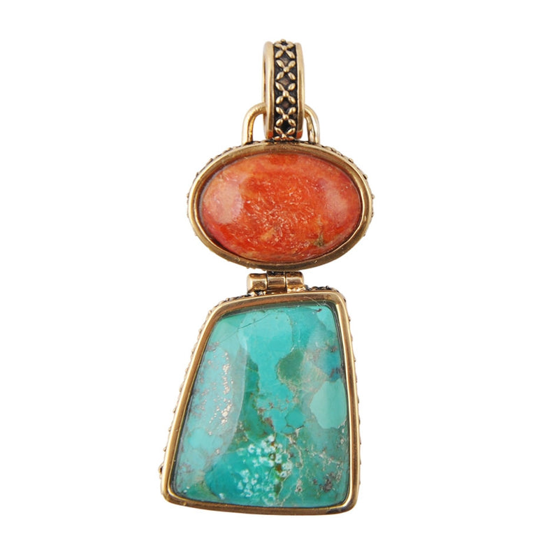 Terracotta Coral and Turquoise Pendant