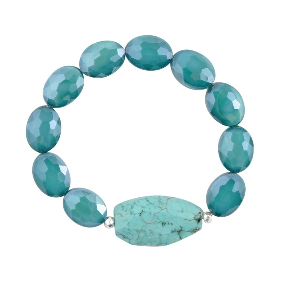 Teal Agate Stretch Bracelet