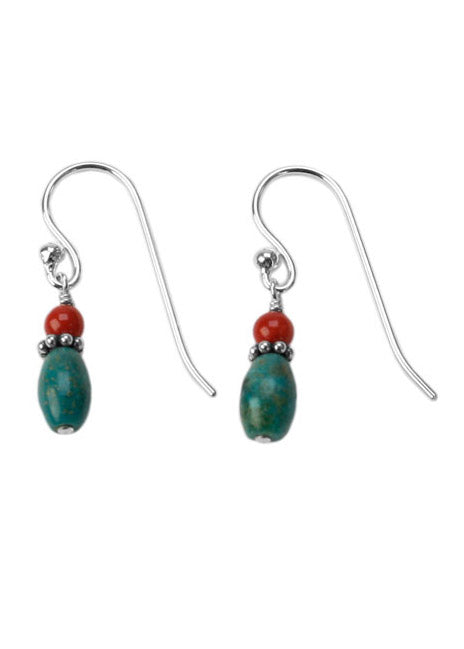 Dainty Turquoise & Coral Earrings