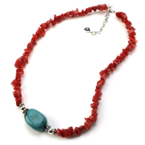 Turquoise Red Coral Nugget Necklace