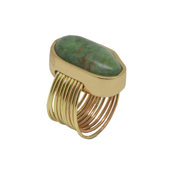 Green Jasper and Bronze Thread Ring
