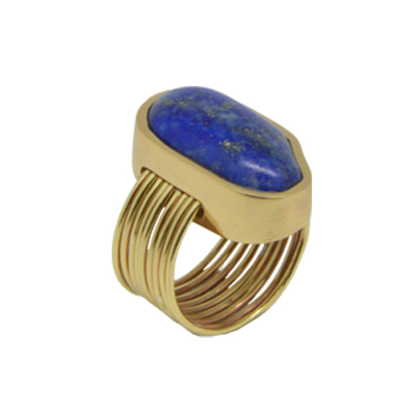 Lapis and Bronze Thread Ring