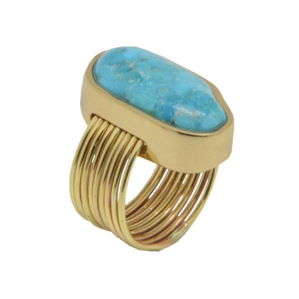Turquoise and Bronze Thread Ring