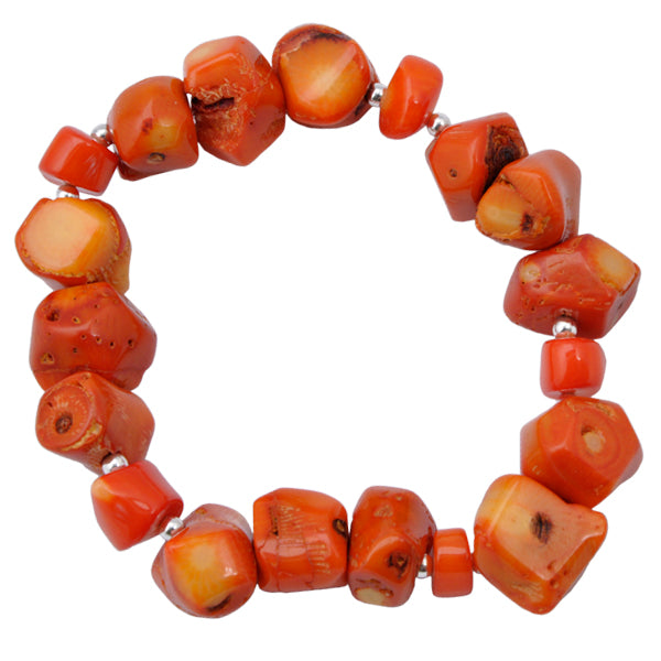 Bamboo Coral Stretch Bracelet-Orange