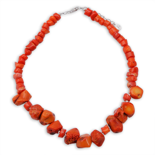 Orange Coral Nugget Necklace