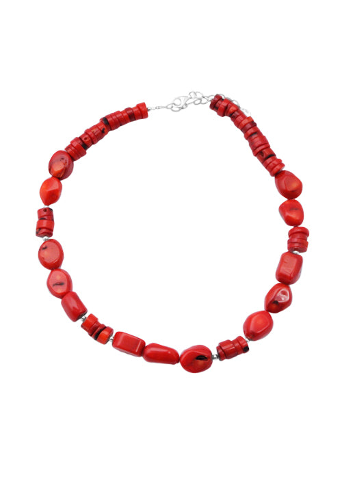 Red Coral Nugget Necklace