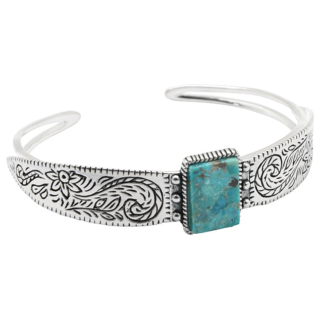Tooled Silver and Turquoise Cuff Bracelet