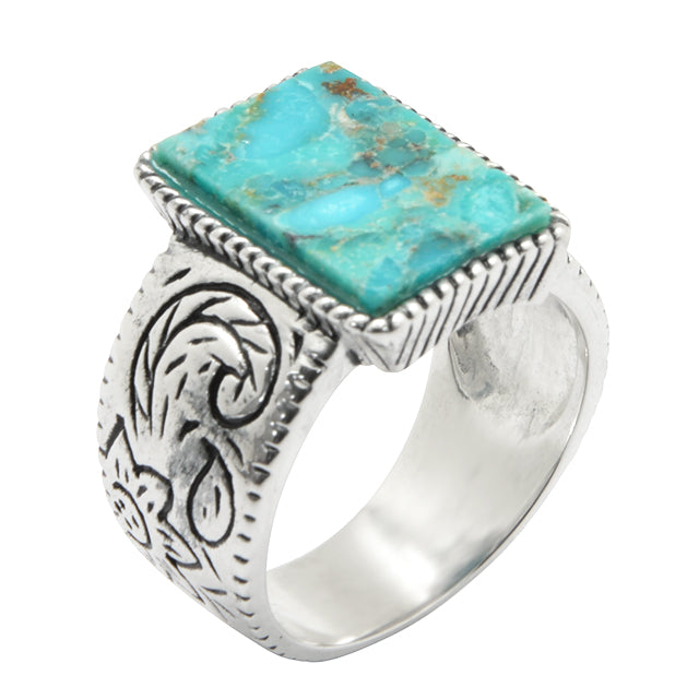 Tooled Silver and Turquoise Ring
