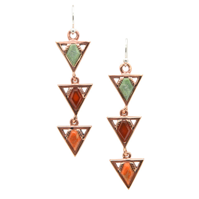 Tres Bonitas Stone and Copper Earring