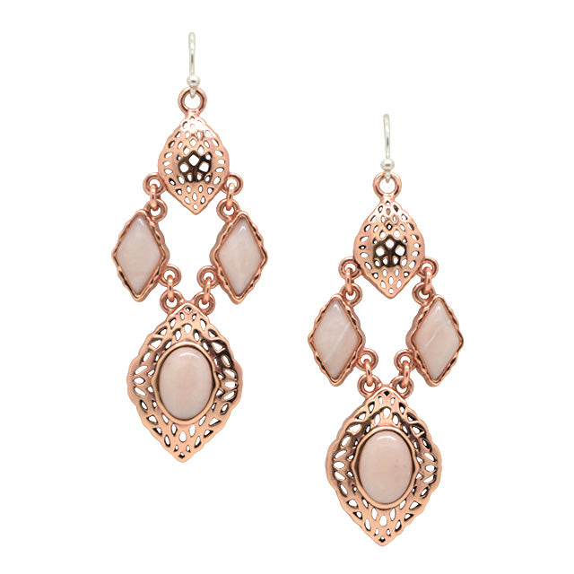 Pink Opal and Copper Earring