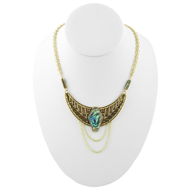 Winged Goddess Abalone Necklace