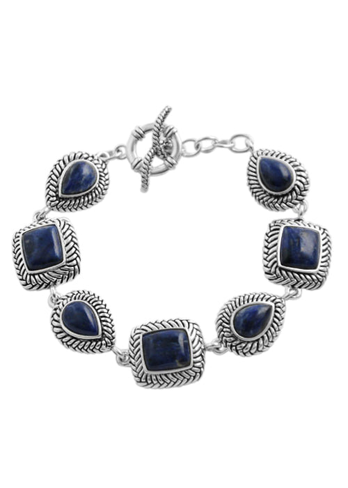 Dumortierite Silver Toggle Bracelet