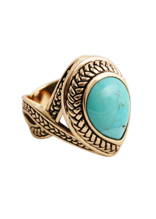 Bronze Turquoise Teardrop Ring