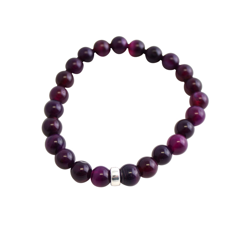 Faceted Stone Stretch Bracelet-Purple Agate