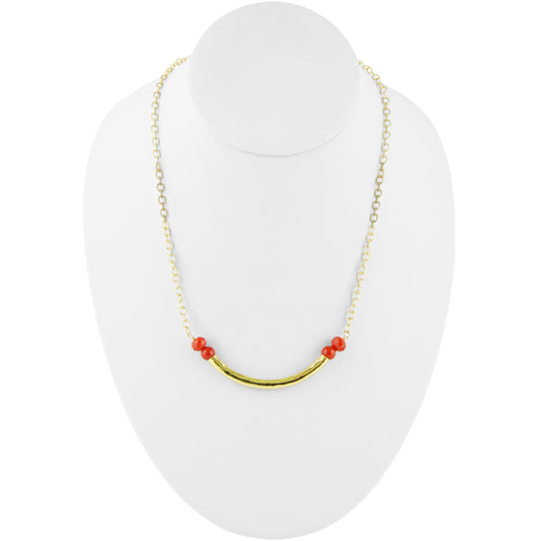 Tubular Bronze and Stone Necklace-Red Howlite