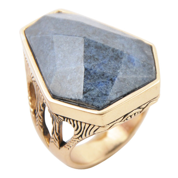Faceted Dumorterite Ring