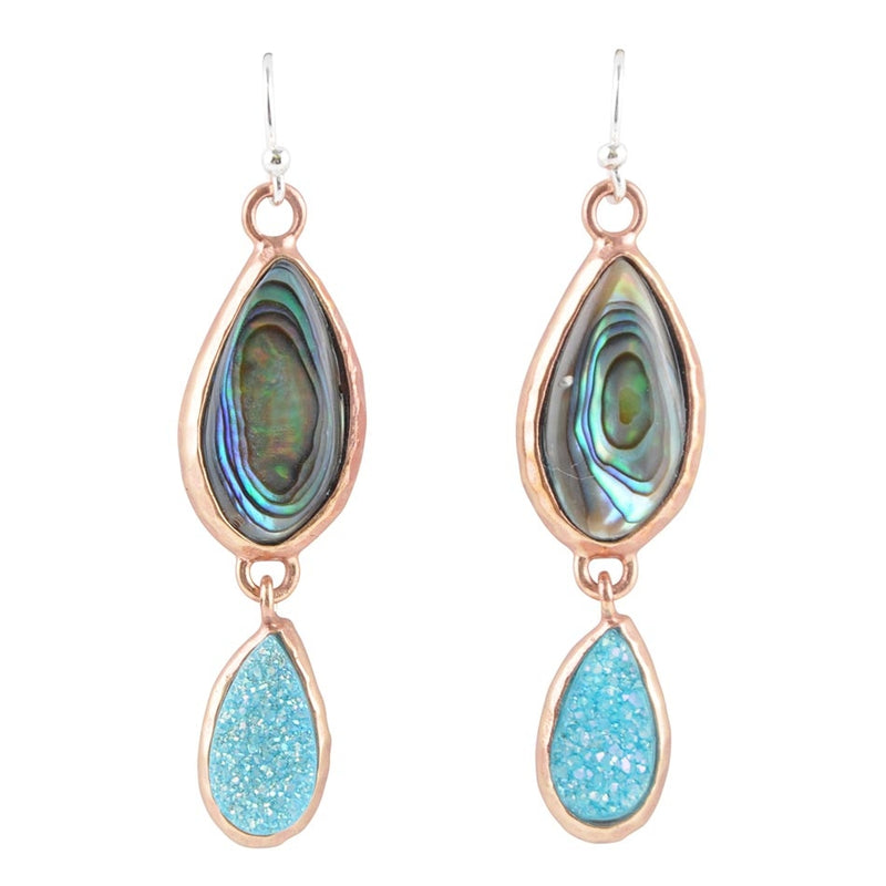 Blue Daze Copper Earring-Abalone & Blue Quartz Druzy