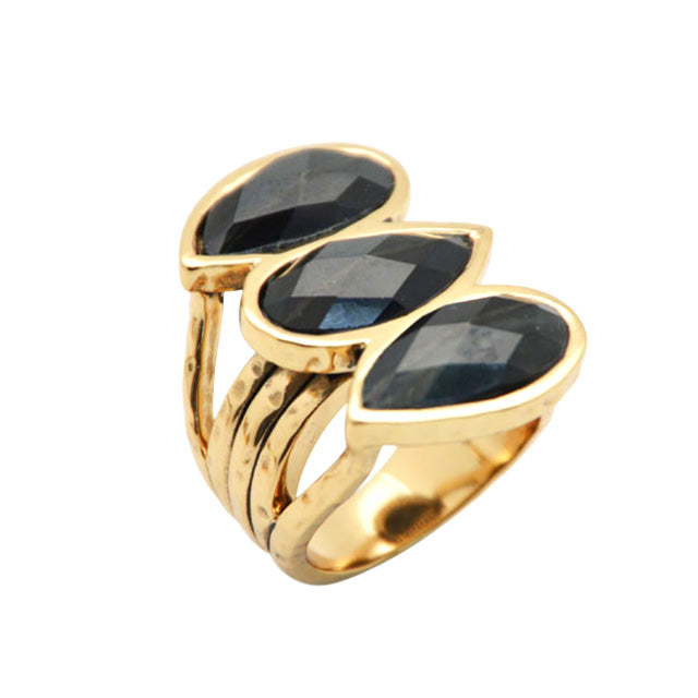 GiGi Hammered Bronze and Blue Tiger Eye Ring