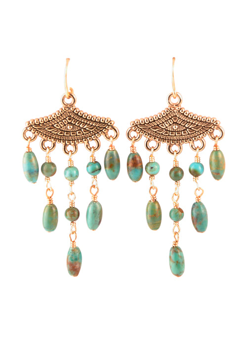 Turquoise Beaded Dangle Earring
