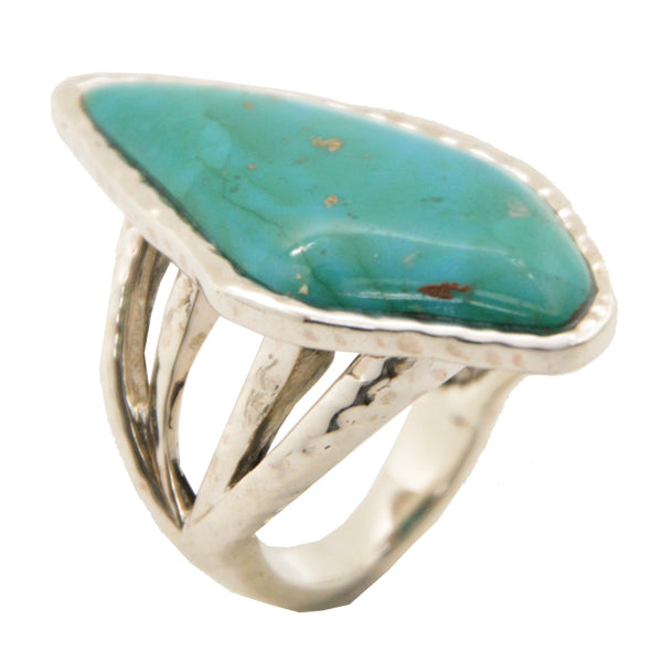 Temazcal Turquoise and Hammered Silver Ring