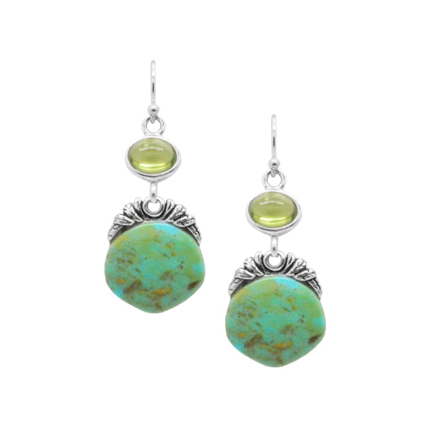 Turquoise and Peridot Disc Earring