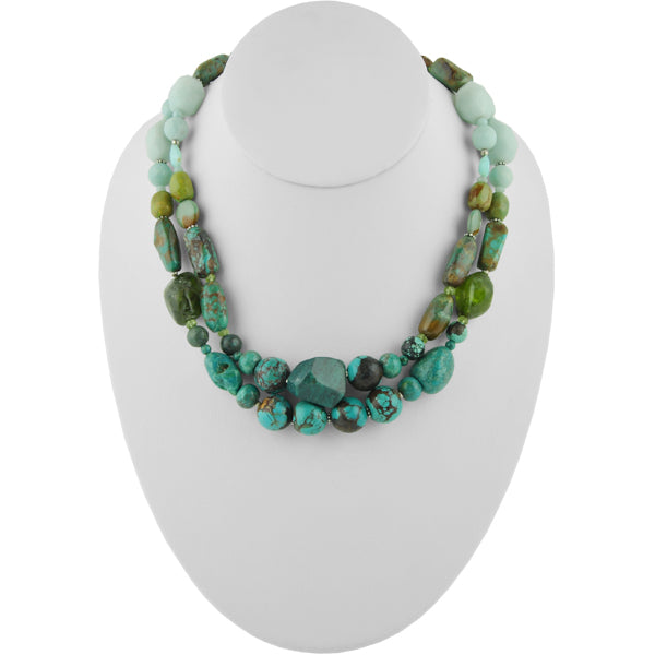 Too Blue Amazonite and Turquoise Necklace