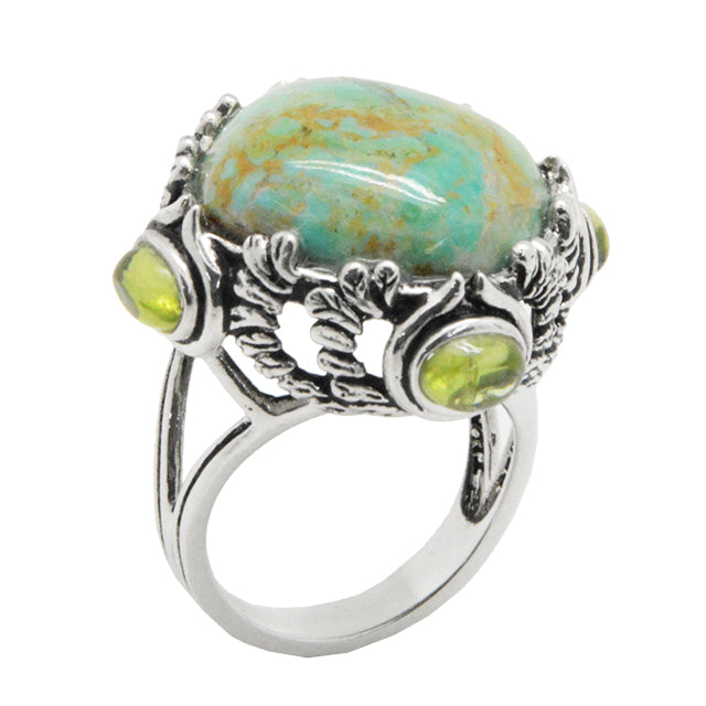 Matrix Turquoise and Peridot Ring