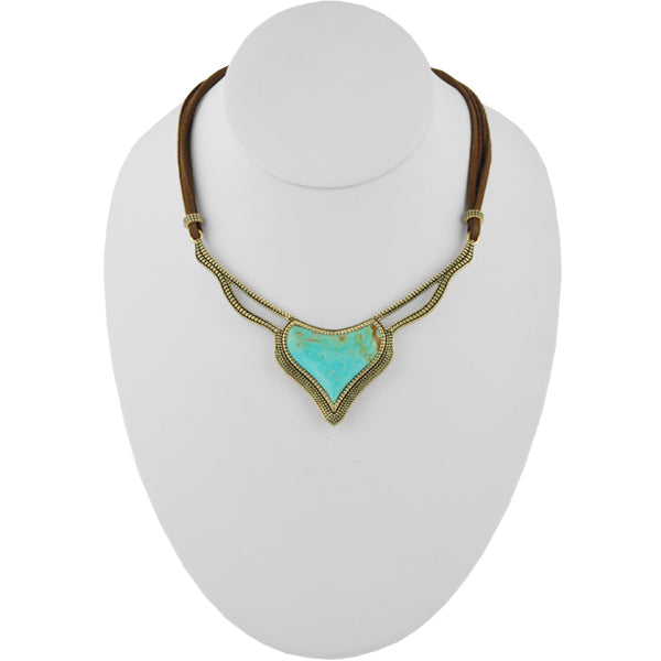 Untamed Turquoise and Leather Necklace