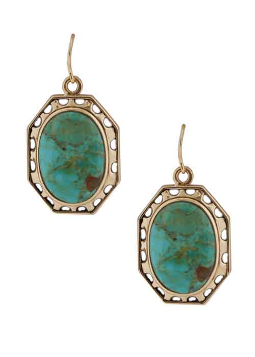 Simple Oval Turquoise Earring
