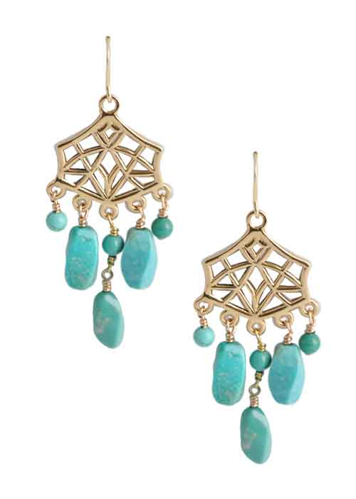 Geometric Turquoise Dangle Earring
