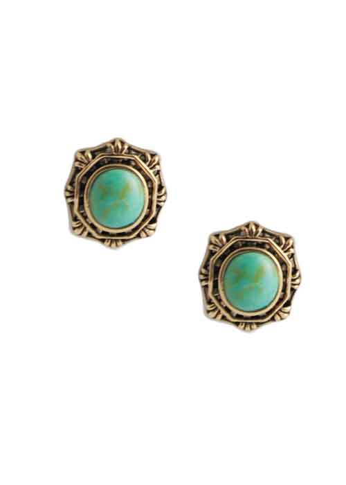 Turquoise Button Earring