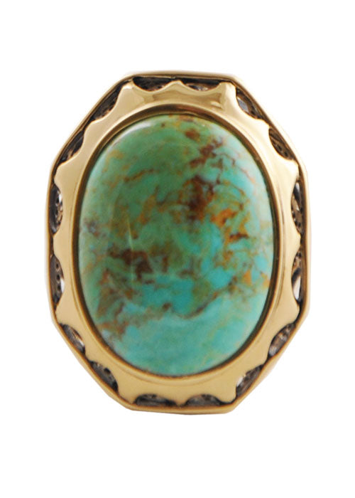 Oval Turquoise Geometric Ring