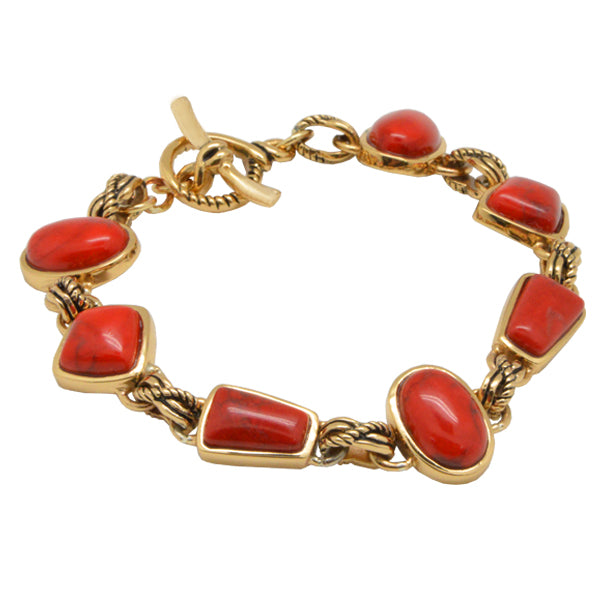 Red Magnesite Toggle Bracelet