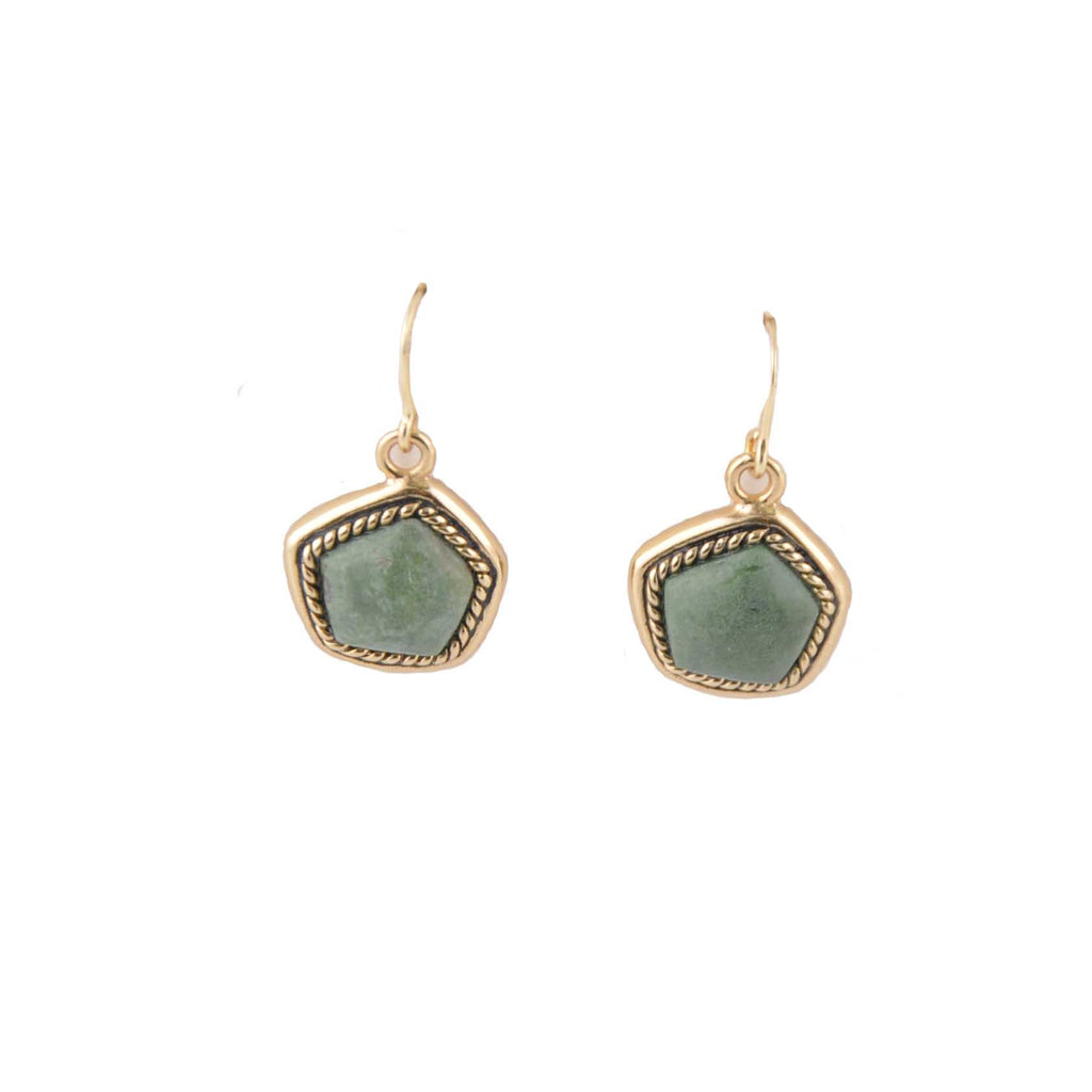 Abstract Green Jasper Earring