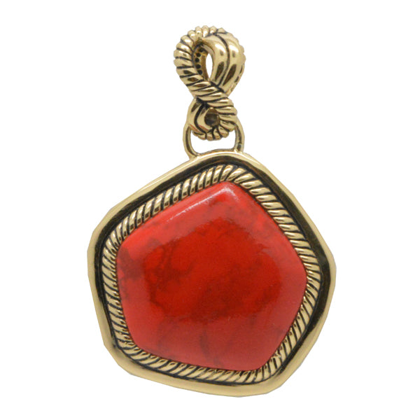 Abstract Red Magnesite Pendant