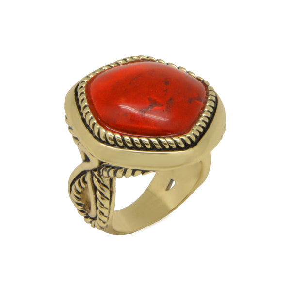 Abstract Red Magnesite Ring