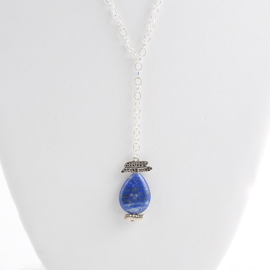 """Y"" Ask Why Necklace- Silver and Lapis"