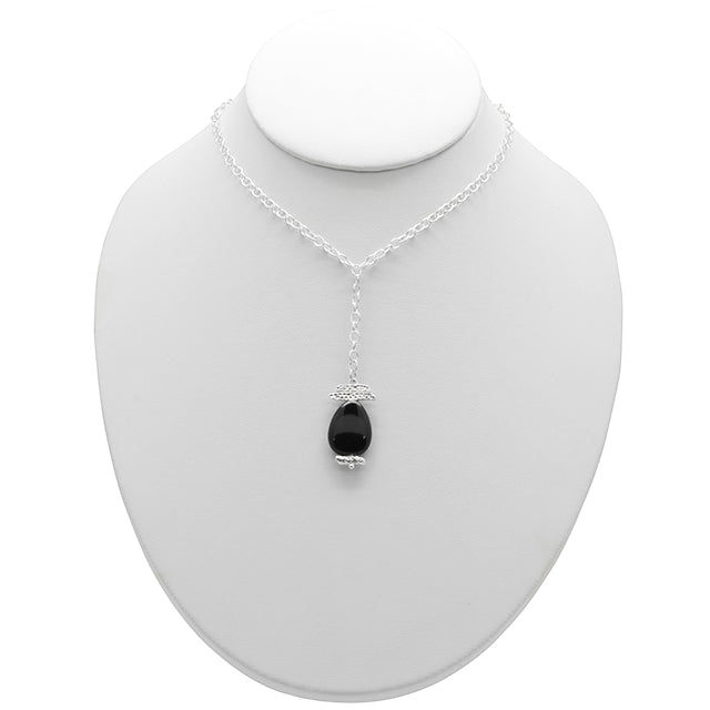 """Y"" Ask Why Necklace- Silver and Onyx"
