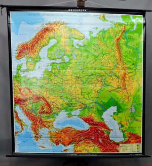 vintage pull-down wall chart poster geography map Eastern Europe physical