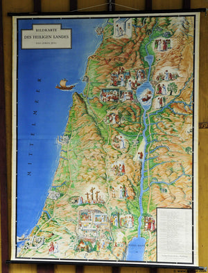 vintage pull-down picture poster wall chart holy land life of Jesus