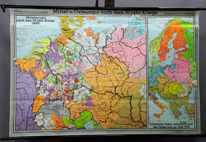 vintage poster wall chart history map Central Eastern Europe 30 years war
