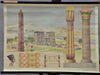 Egyptian architecture poster print vintage look pull-down wall chart