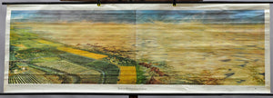 large rollable wall chart landscape Middle Asia desert with river oasis