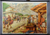 vintage rollable wall chart picture poster Roman camp village history
