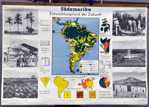vintage poster map rollable wall char South America developing country Brazil