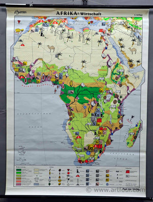 vintage school map rollable wall chart Africa poster print economy