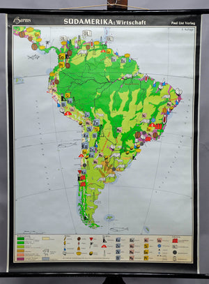 school map South America vintage wall chart kids room decoration print