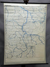 vintage rollable map wall chart Saxony-Anhalt Germany